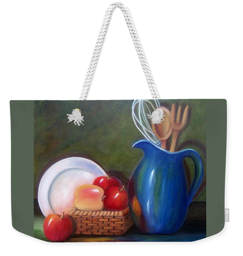 Pitcher Weekender Tote Bag featuring the painting Kitchenware by Susan Dehlinger