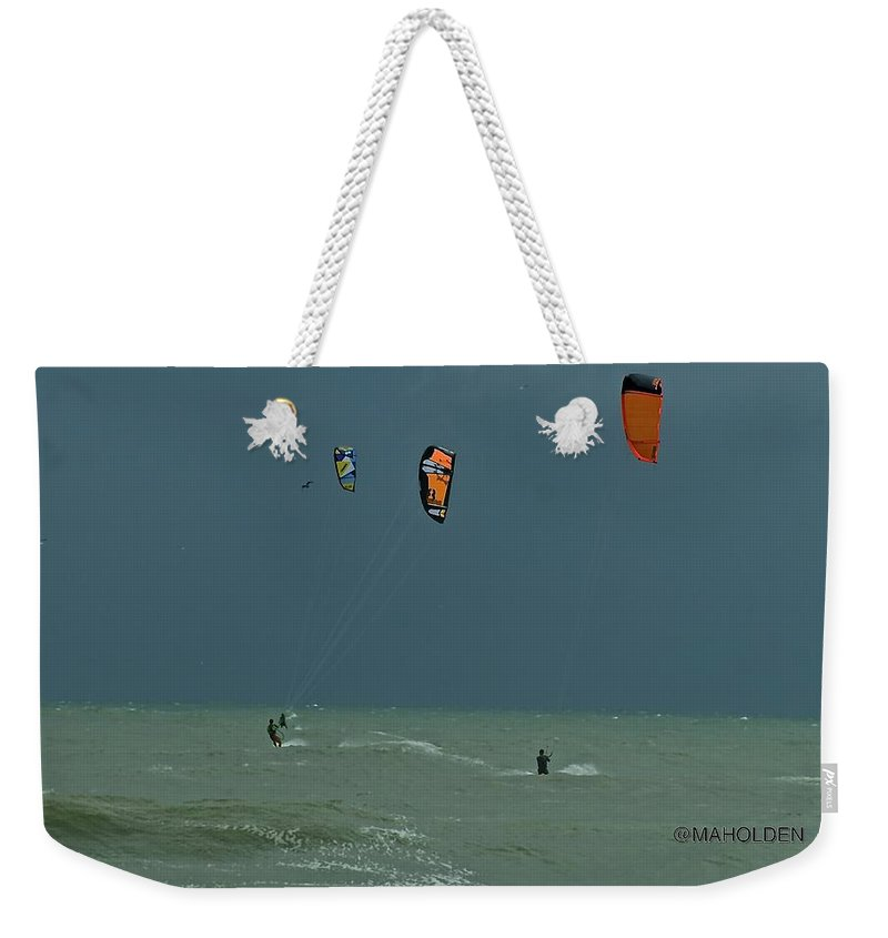 Obx Weekender Tote Bag featuring the photograph Kite Boarding At Obx by Mark Holden
