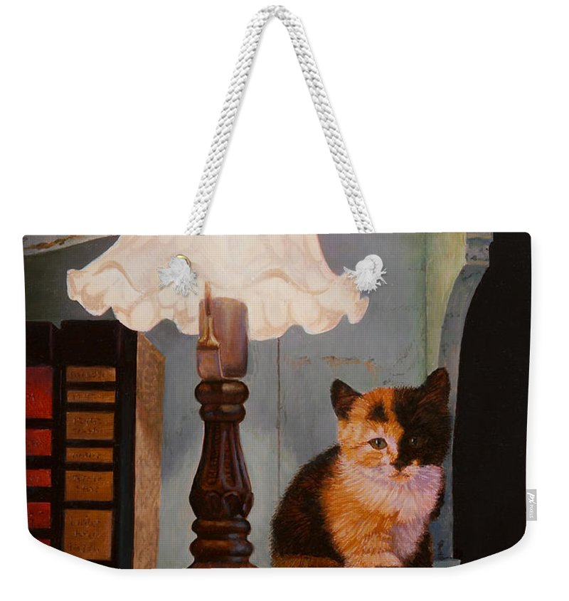 Kitten Weekender Tote Bag featuring the painting Kitten By The Lamp by Abel DeLaRosa