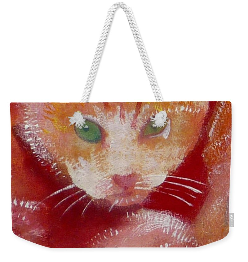 Kittens Weekender Tote Bag featuring the painting Kitten by Charles Stuart