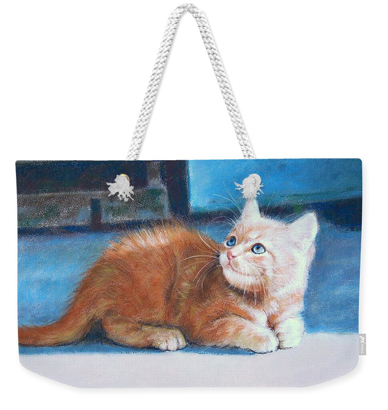 Cats Weekender Tote Bag featuring the pastel Kitten by Iliyan Bozhanov