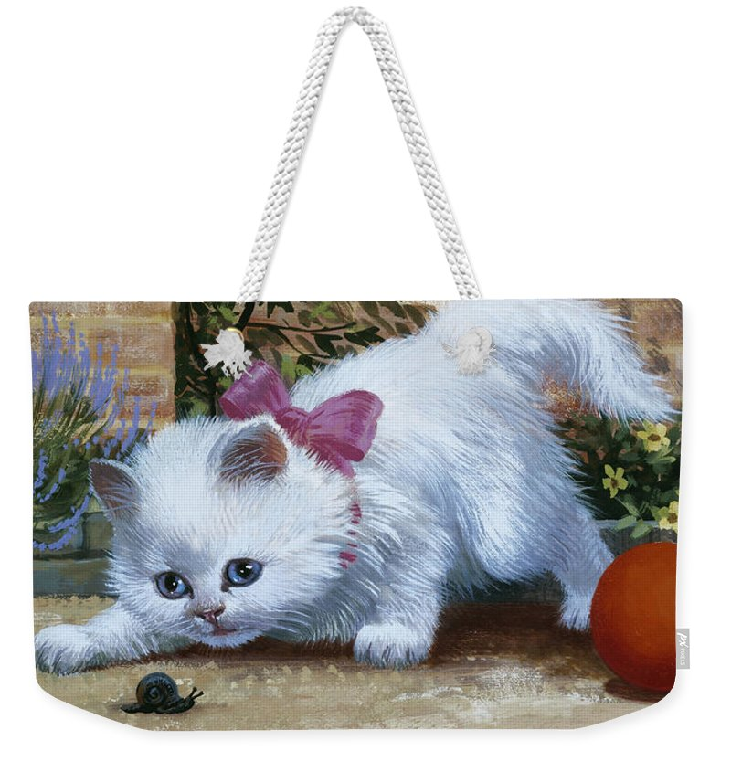 Cat Weekender Tote Bag featuring the painting Kitten With Snail And Ball by English School