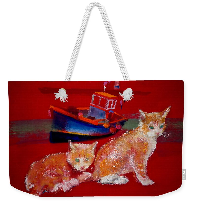 Kittens Weekender Tote Bag featuring the painting Kittens On The Beach by Charles Stuart