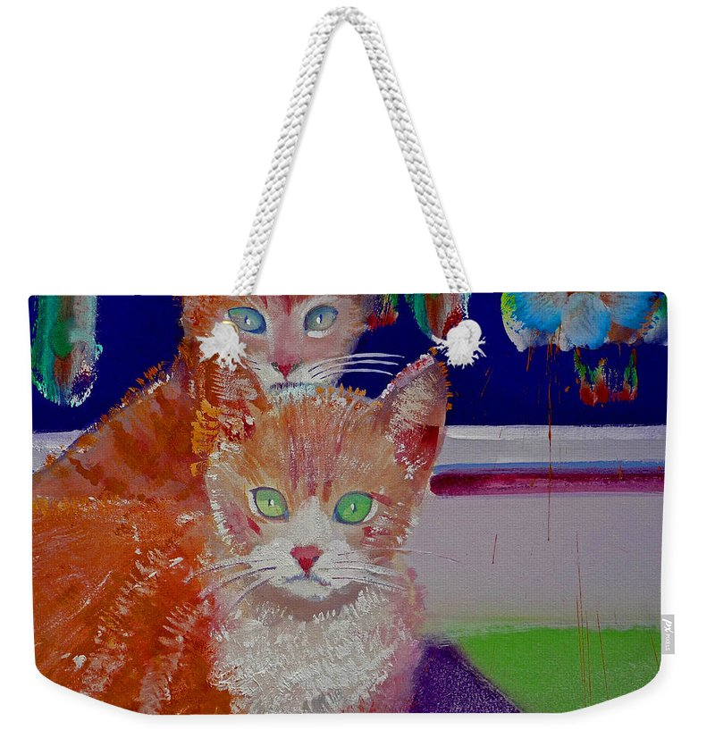 Kittens Weekender Tote Bag featuring the painting Kittens With Wild Wallpaper by Charles Stuart