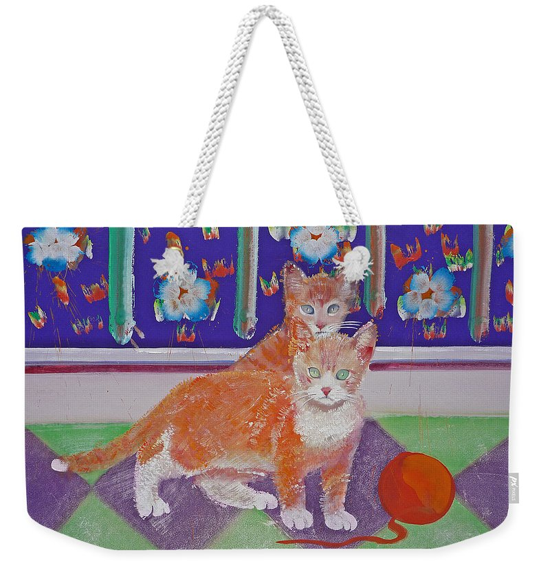 Kittens Weekender Tote Bag featuring the painting Kittens With Wild Wool by Charles Stuart