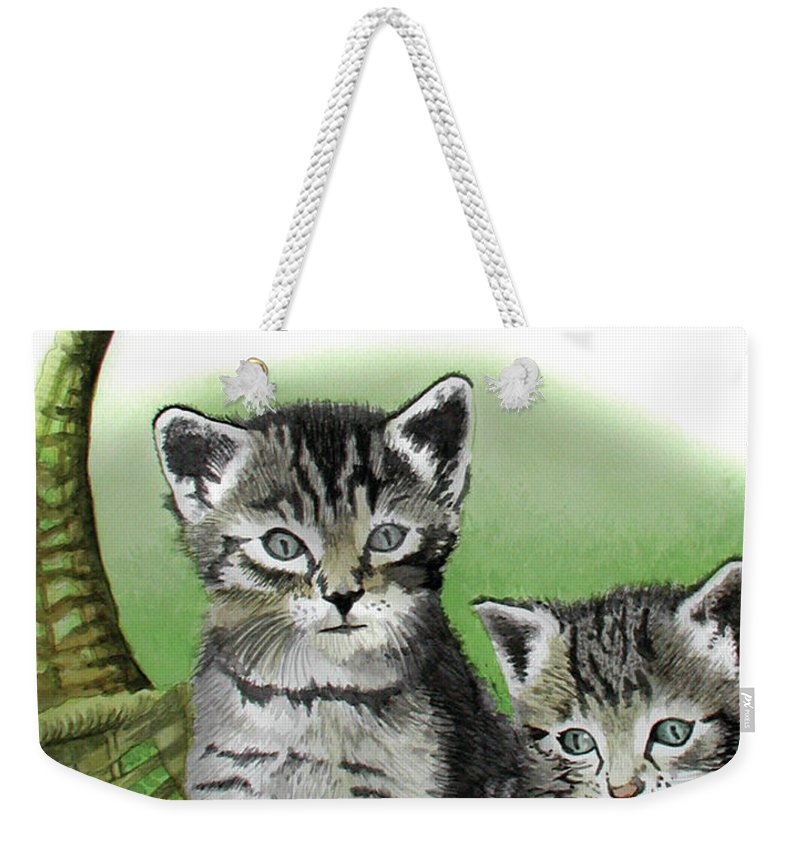 Cat Weekender Tote Bag featuring the painting Kitty Caddy by Ferrel Cordle