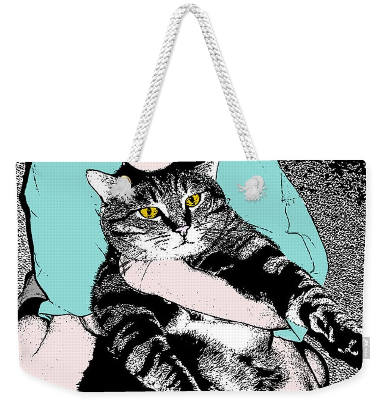 Cat Weekender Tote Bag featuring the photograph Kitty Loves Me by Rhonda Chase