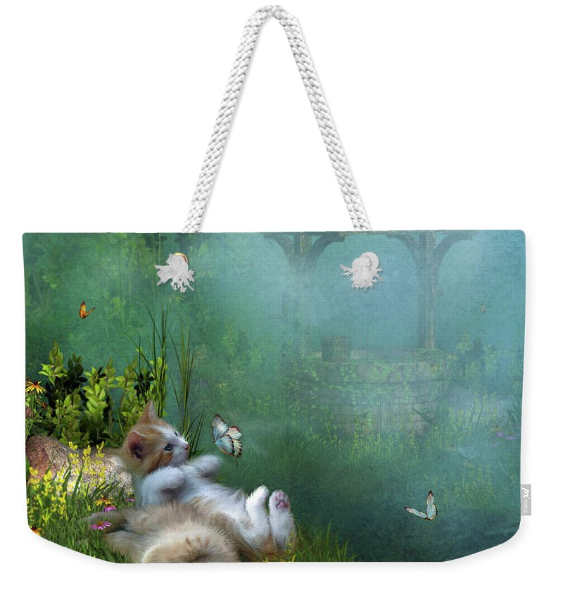 Kittens Weekender Tote Bag featuring the mixed media Kitty Wishes by Carol Cavalaris