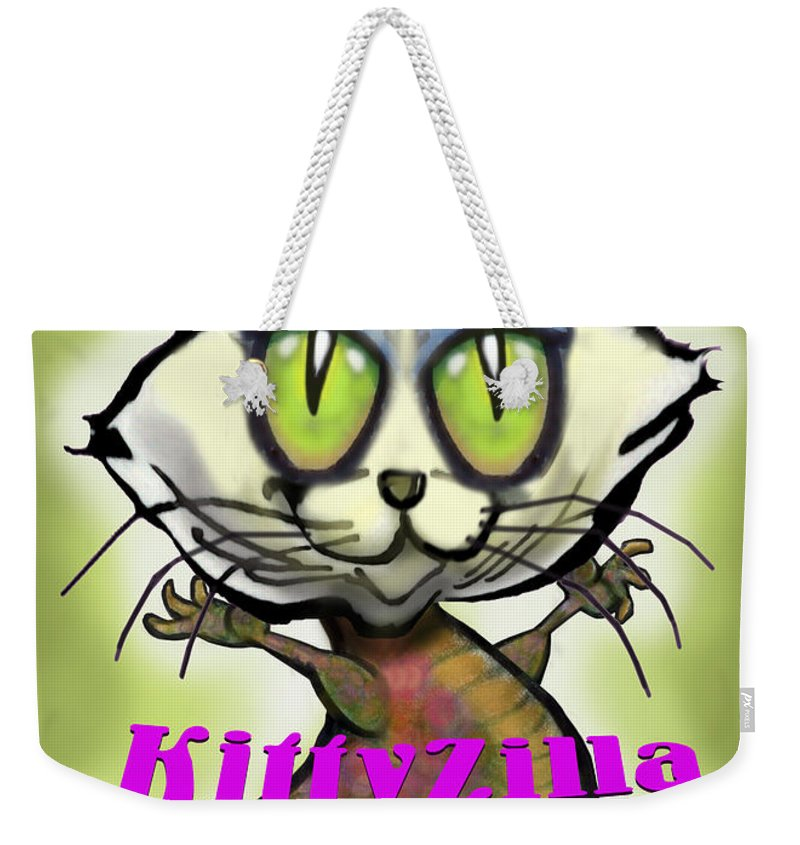 Kittyzilla Weekender Tote Bag featuring the greeting card Kittyzilla by Kevin Middleton