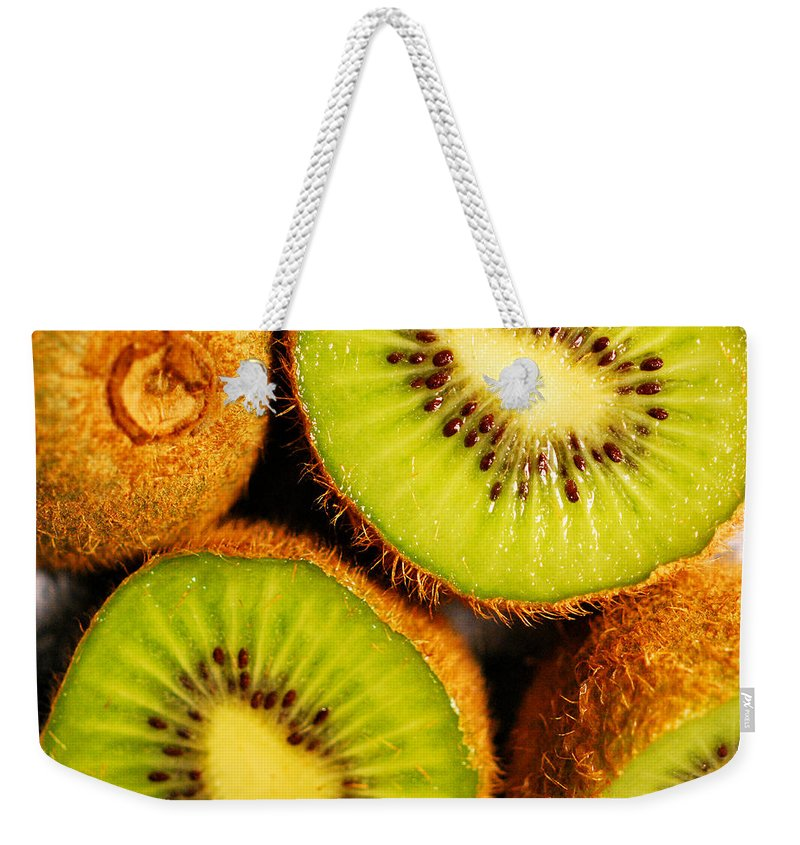 Kiwi Weekender Tote Bag featuring the photograph Kiwi Fruit by Nancy Mueller