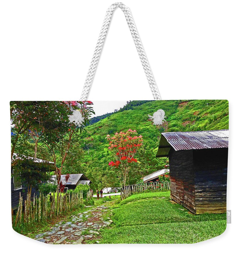 Village Weekender Tote Bag featuring the photograph Kiwi Village Of Papua by Eunice Warfel