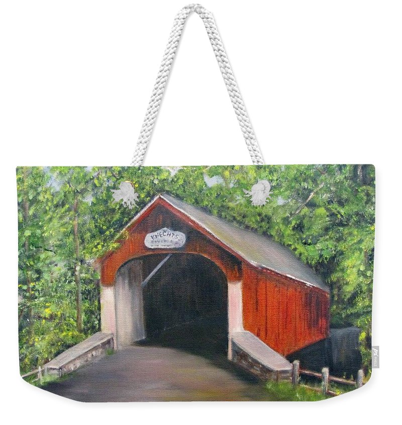 Bridge Weekender Tote Bag featuring the painting Knechts Covered Bridge by Loretta Luglio