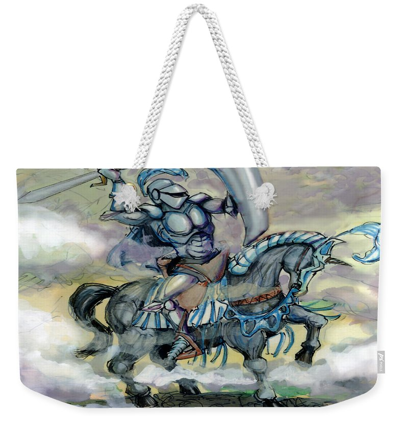 Knight Weekender Tote Bag featuring the greeting card Knight by Kevin Middleton