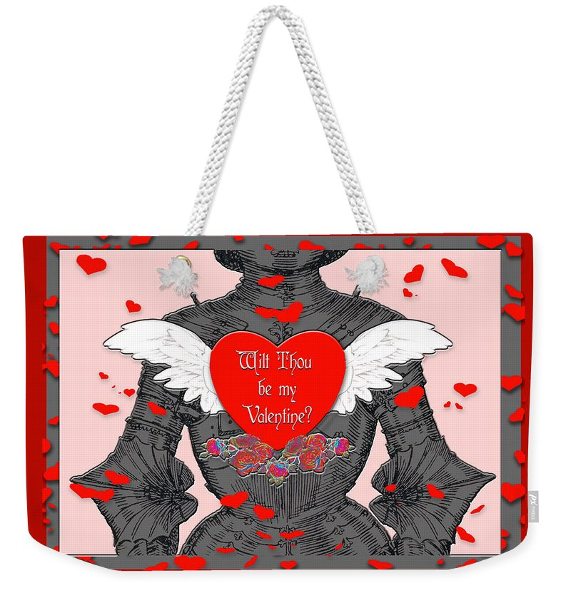 Valentines Day Card Weekender Tote Bag featuring the digital art Knight Valentine by Melissa A Benson