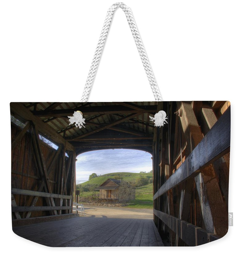 Knights Ferry Weekender Tote Bag featuring the photograph Knights Ferry Covered Bridge by Jim And Emily Bush