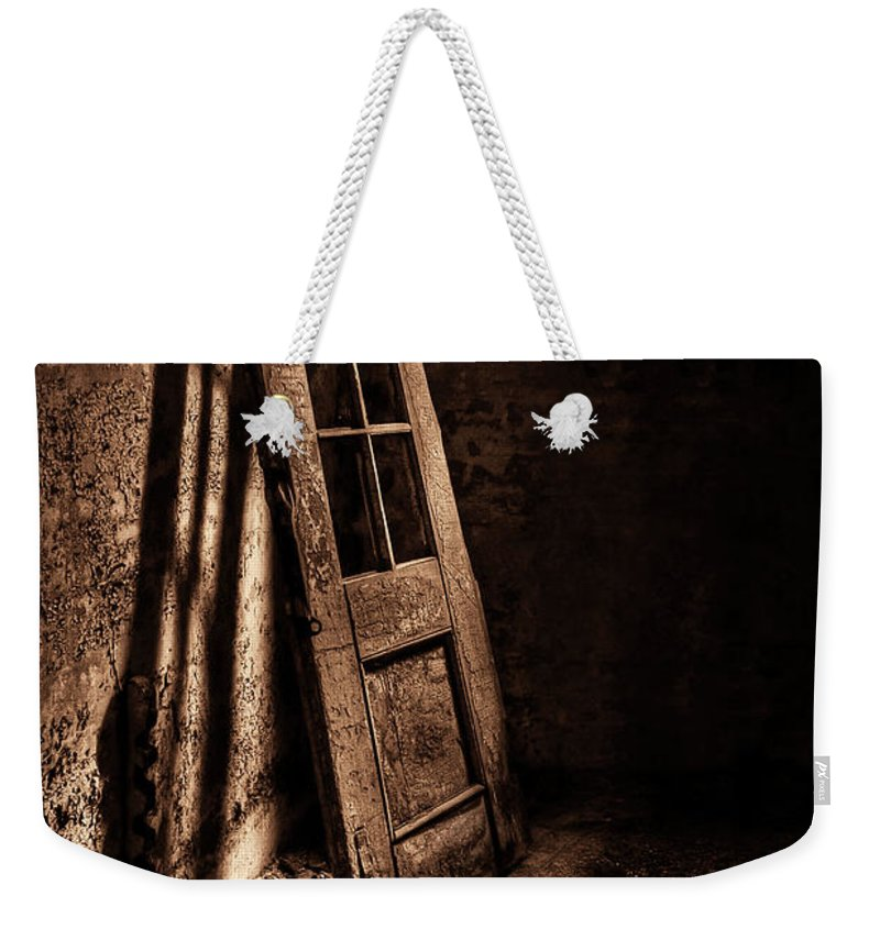 Door Weekender Tote Bag featuring the photograph Knockin' At The Wrong Door by Evelina Kremsdorf