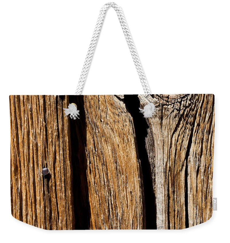 Wood Texture Weekender Tote Bag featuring the photograph Knot Hole by Kelley King