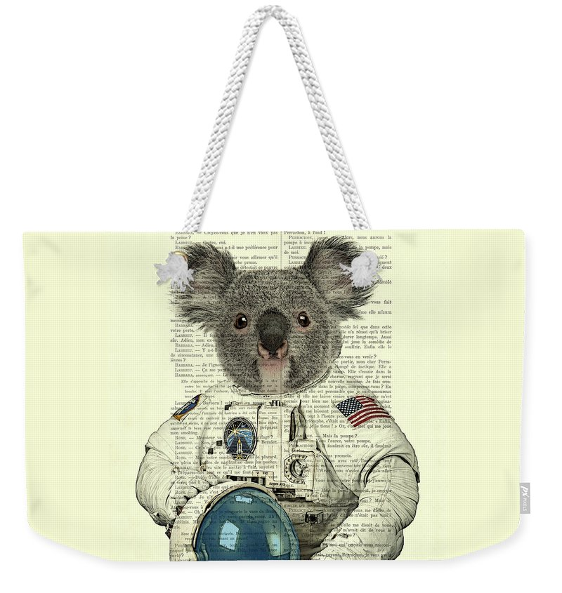 Astronaut Weekender Tote Bag featuring the digital art Koala In Space Illustration by Madame Memento