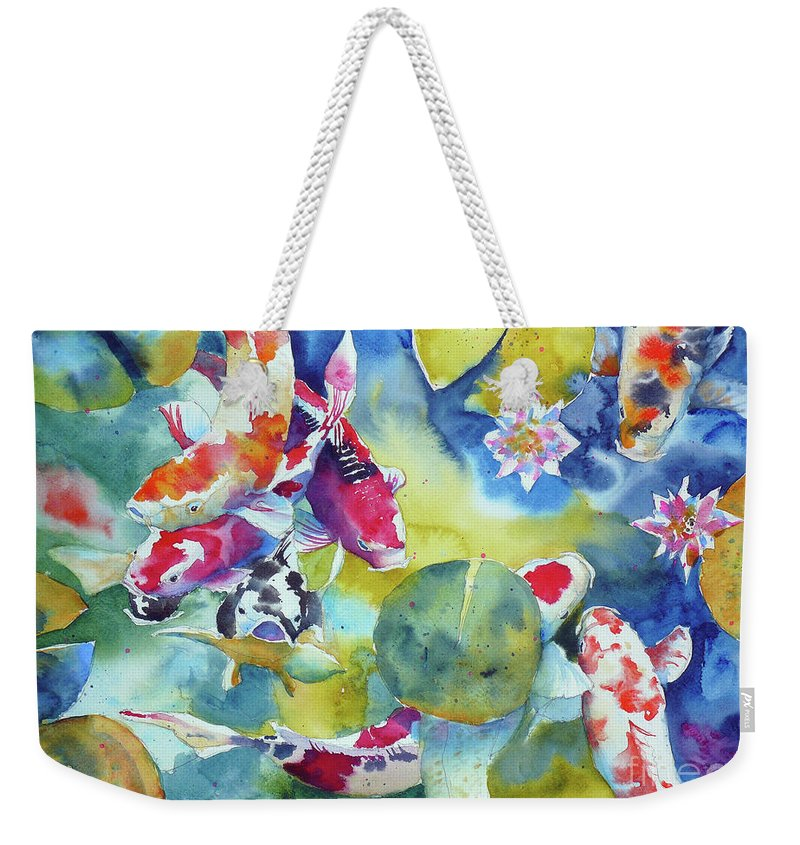 Watercolor Weekender Tote Bag featuring the painting Koi And Two Waterlilies Flowers by Andre MEHU