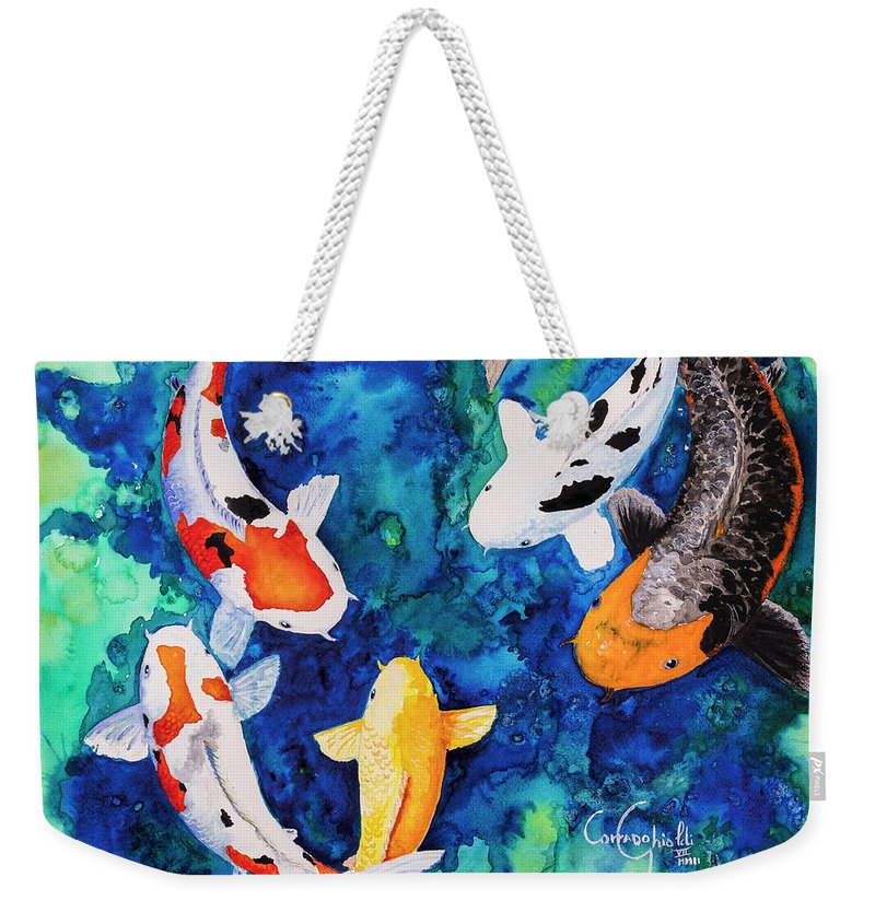 Koi Weekender Tote Bag featuring the painting Koi Family by Corrado Ghioldi