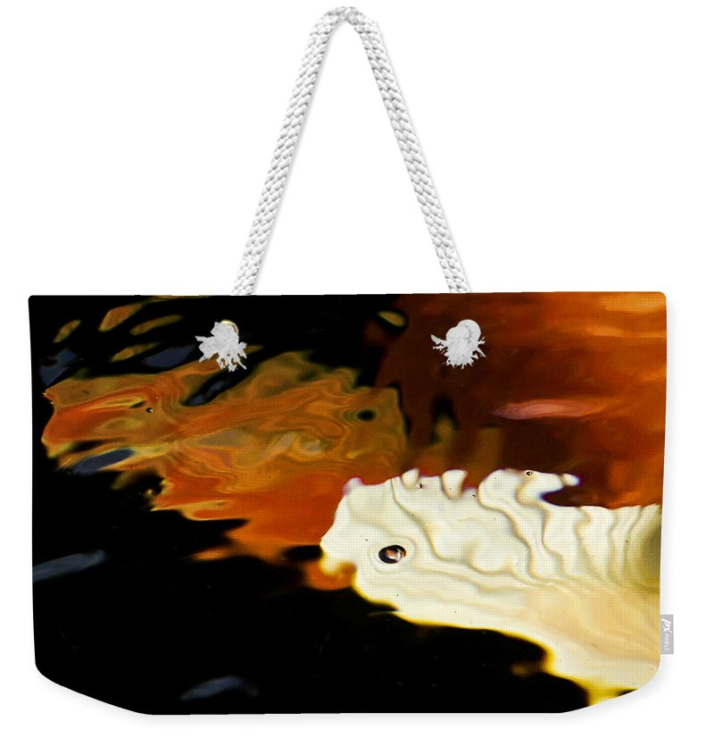 Water Weekender Tote Bag featuring the photograph Koi Fin Abstract by Jean Noren