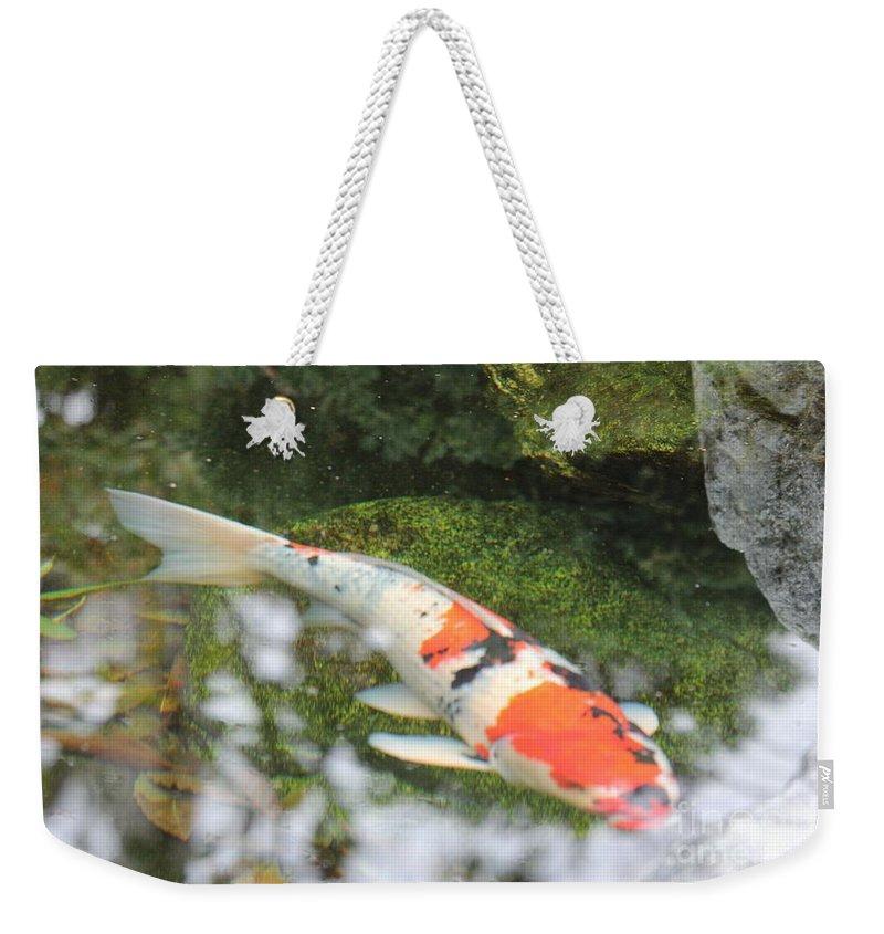 Koi Weekender Tote Bag featuring the photograph Koi Fish by Marta Robin Gaughen