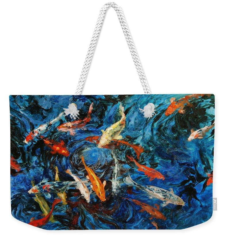 Koi Weekender Tote Bag featuring the painting Koi IIi by Rick Nederlof