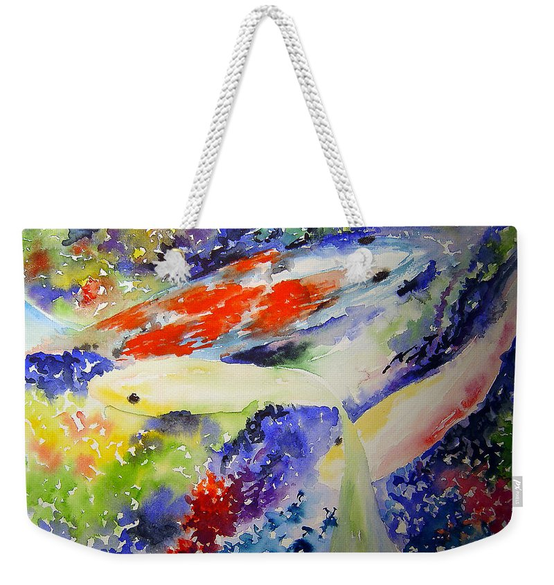 Koi Weekender Tote Bag featuring the painting Koi by Joanne Smoley