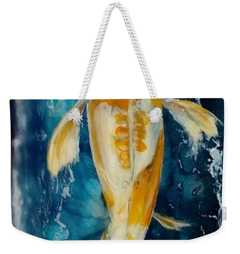 Koi Fish Weekender Tote Bag featuring the painting Koi by Karoly Grof