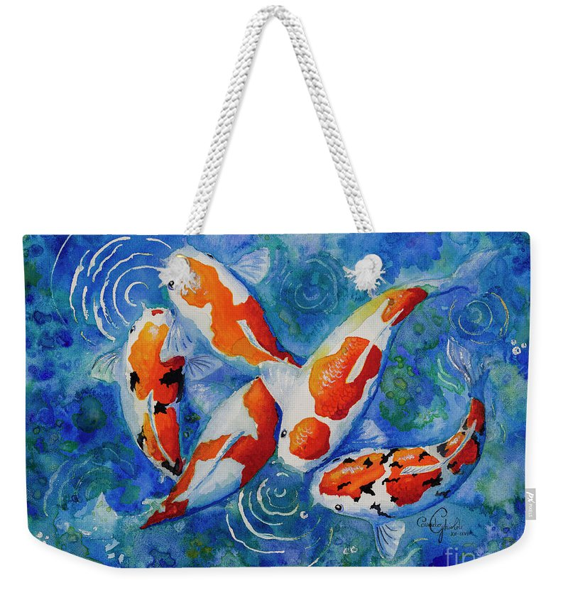Koi Weekender Tote Bag featuring the painting Koi Love by Corrado Ghioldi