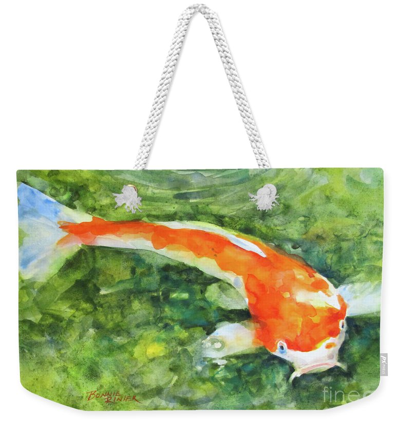Koi Fish Weekender Tote Bag featuring the painting Koi No.3 by Bonnie Rinier