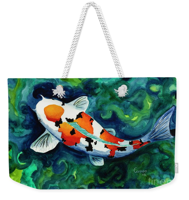 Koi Weekender Tote Bag featuring the painting Koi One by Corrado Ghioldi
