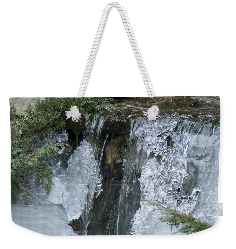Koi Pond Weekender Tote Bag featuring the photograph Koi Pond Waterfall by Steven Natanson