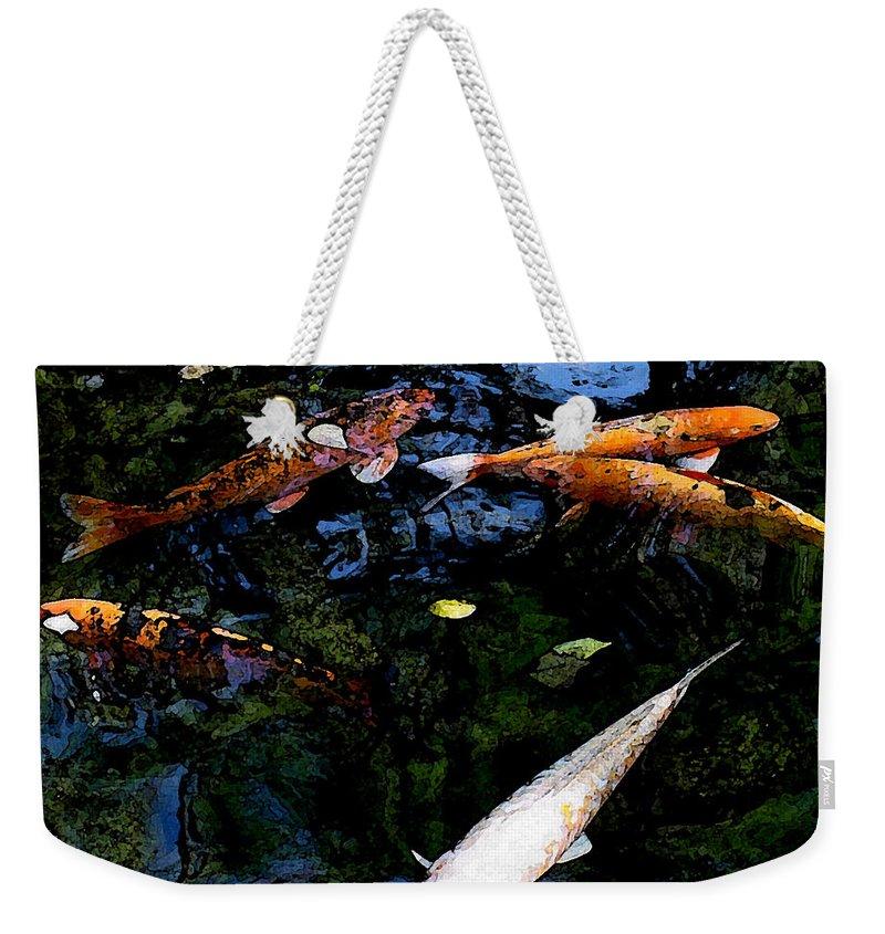 Koi Weekender Tote Bag featuring the mixed media Koi Swimming - Dsc00023 by Shirley Heyn