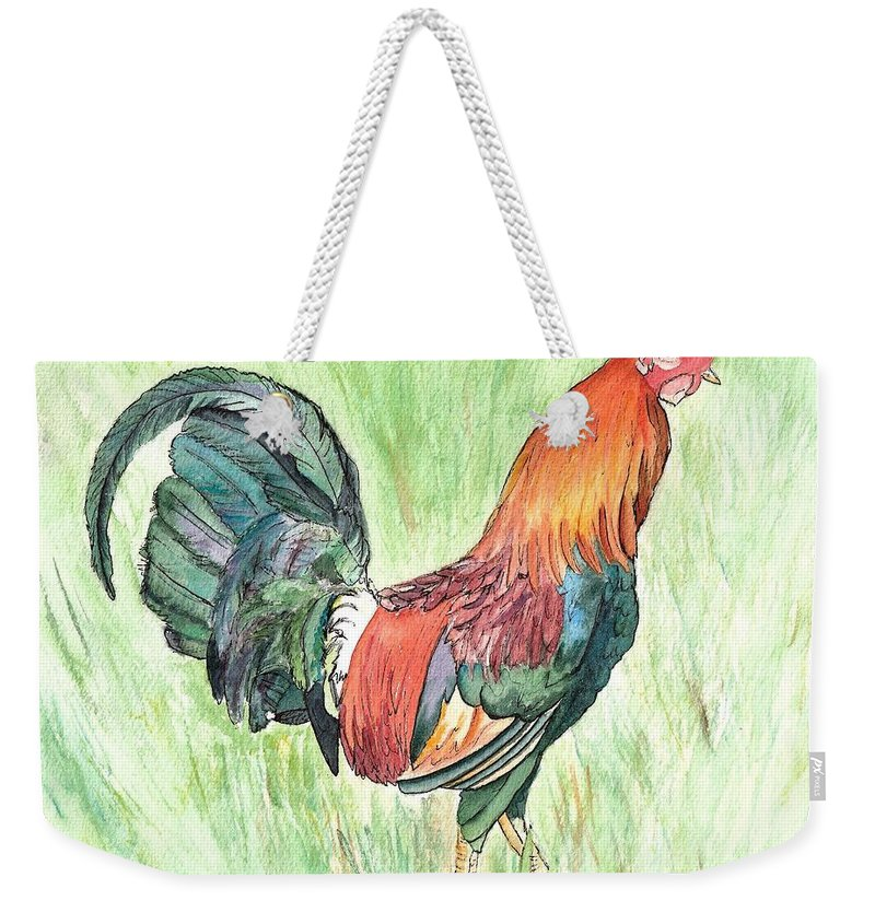 Roosters Weekender Tote Bag featuring the painting Kokee Rooster by Marionette Taboniar