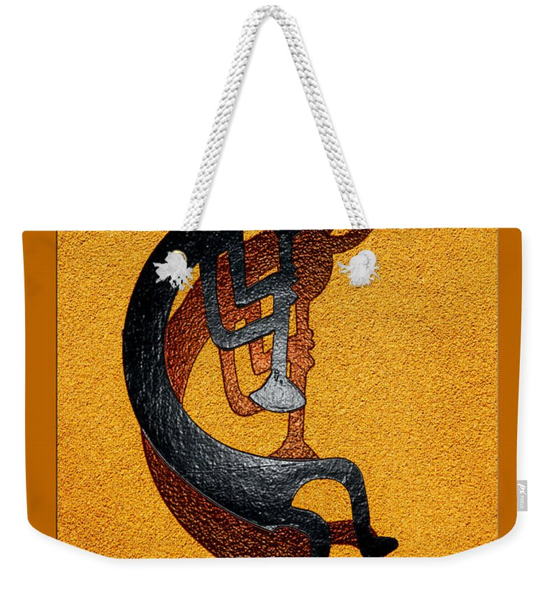 Kokopelli Weekender Tote Bag featuring the photograph Kokopelli Golden Harvest by Vicki Pelham