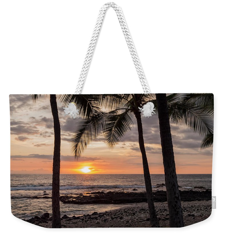 Kona Big Island Hawaii Beach Ocean Sunset Weekender Tote Bag featuring the photograph Kona Sunset by Brian Harig