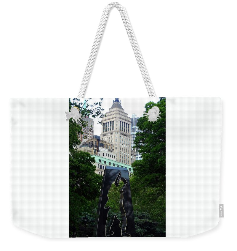 Korean War Memorial Weekender Tote Bag featuring the photograph N Y Korean War Memorial 2 by Ron Kandt