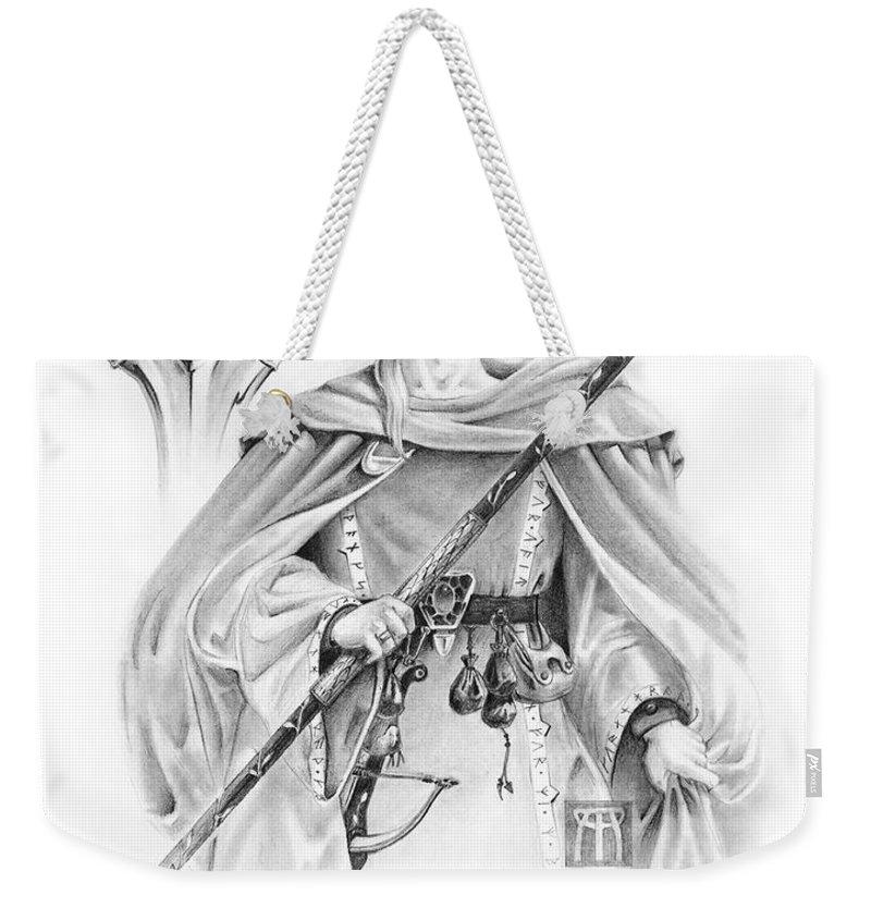 Wizard Weekender Tote Bag featuring the drawing Korranderaythe Von Cristalvasser by Melissa A Benson