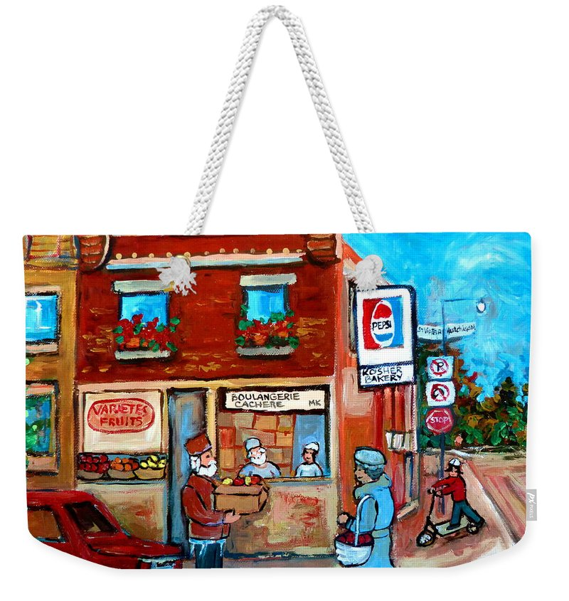 Kosher Bakery Weekender Tote Bag featuring the painting Kosher Bakery On Hutchison Street by Carole Spandau