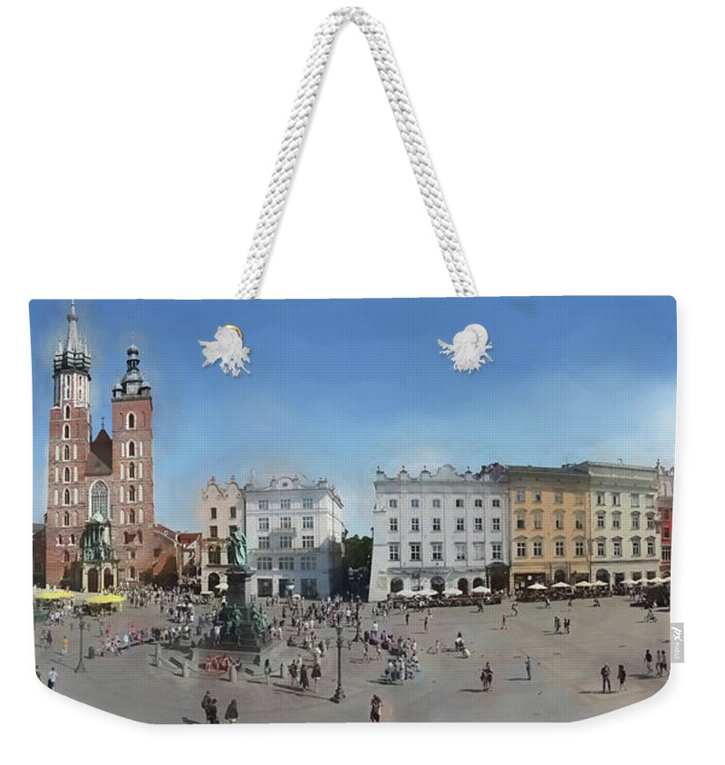 Panorama Weekender Tote Bag featuring the photograph Krakow, Town Square by Aleksander Rotner