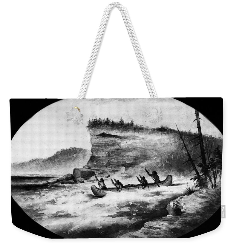 1856 Weekender Tote Bag featuring the photograph Krieghoff: Canoe On Rapids by Granger