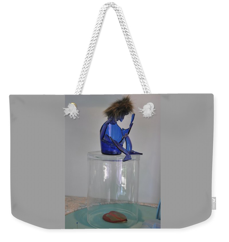 Green Weekender Tote Bag featuring the mixed media Krishna by Michael Jude Russo