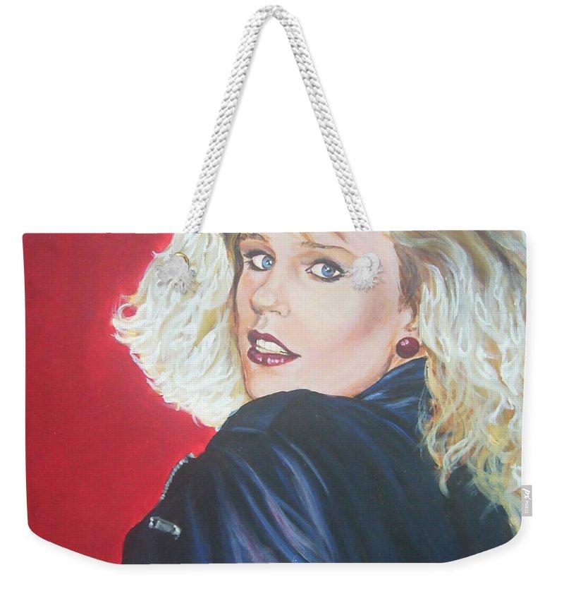 Blonde Weekender Tote Bag featuring the painting Kristi Sommers by Bryan Bustard