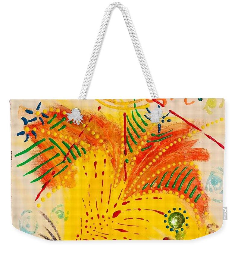 Totes Weekender Tote Bag featuring the mixed media Krutika by Maria Pancheri