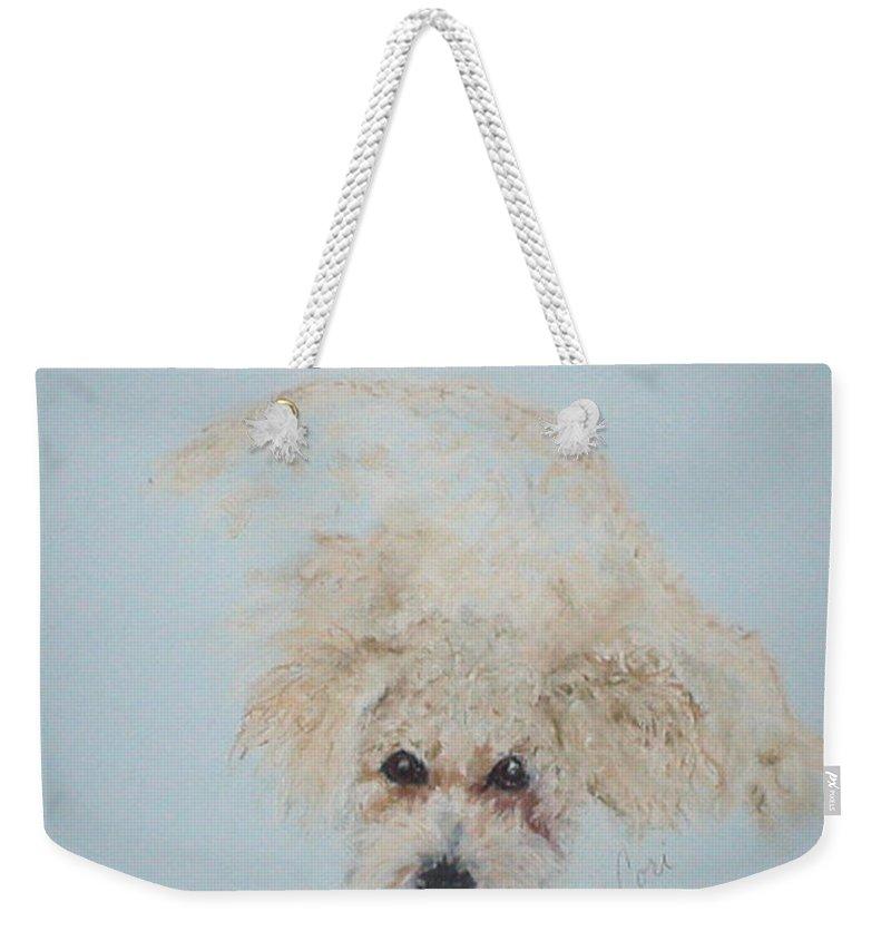 Dog Weekender Tote Bag featuring the drawing Kuku by Cori Solomon