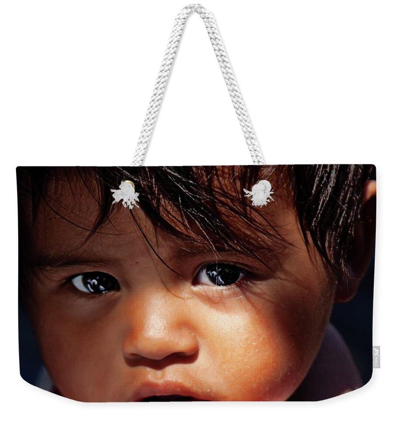 Kuna Yala Girl Weekender Tote Bag featuring the photograph Kuna Yala Girl, Panama by Tatiana Travelways