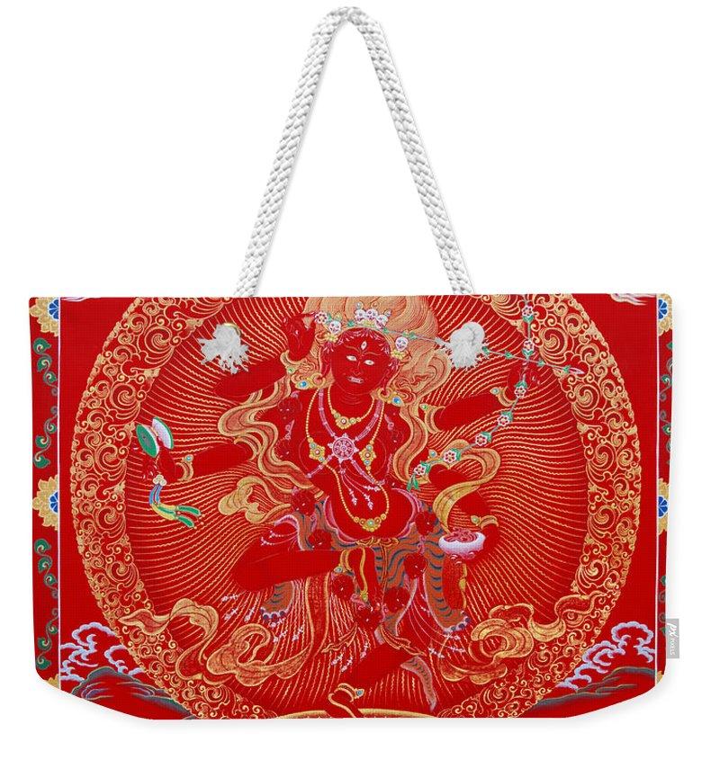 Kurukulle Weekender Tote Bag featuring the painting Kurukulle Devi by Sergey Noskov