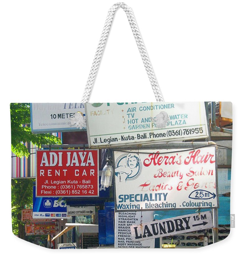 Bali Weekender Tote Bag featuring the photograph Kuta Street Signs -- Bali by Mark Sellers