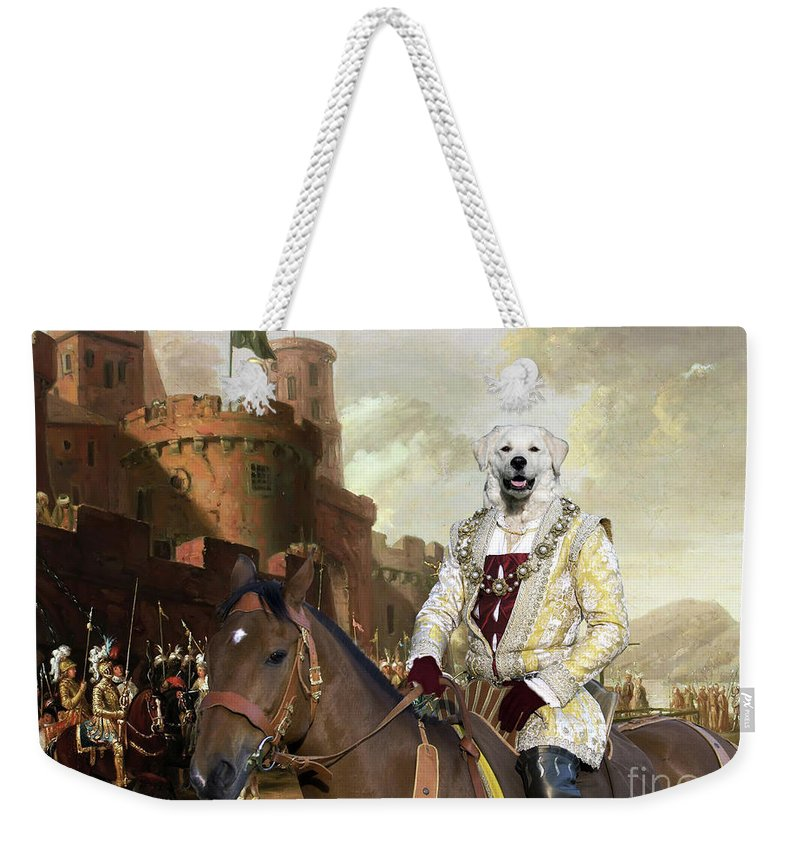 Kuvasz Weekender Tote Bag featuring the painting Kuvasz Art Canvas Print - The Enchanted Forest by Sandra Sij